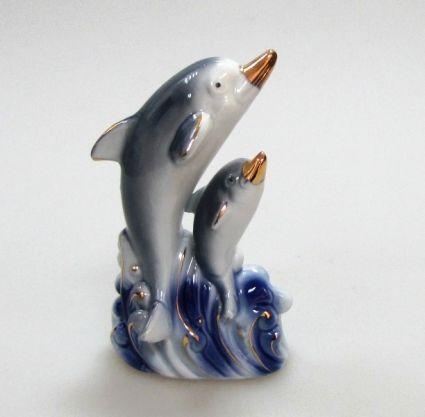 Фиг.порцелан+злато - 2ка делфини