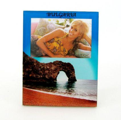 Рамка за снимки от стъкло с изглед и надпис България