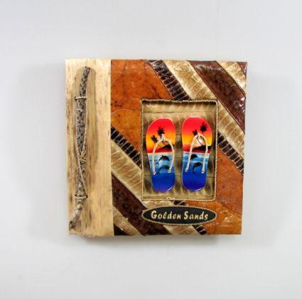 Албум за снимки-10 листа-еко материали с надпис-GOLDEN  SANDS - от пясък