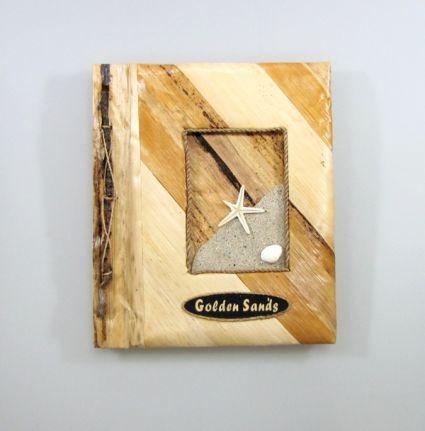 Албум за снимки-10 листа-еко материали с надпис от пясък - Зл.пясъци