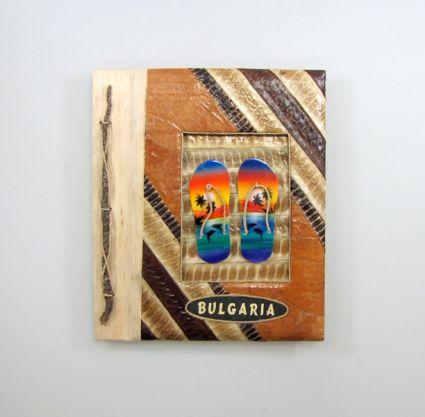 Албум за снимки-10 листа-еко материали с надпис-BULGARIA от пясък
