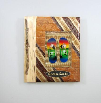 Албум за снимки-10 листа-еко материали с надпис-GOLDEN  SANDS- от пясък