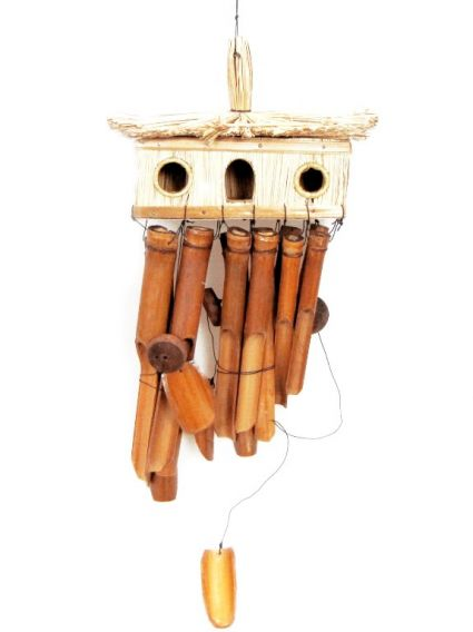 Wind chimes made of bamboo and decorated