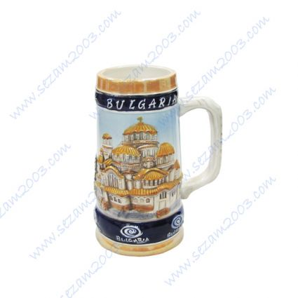 Ceramic mug with relief views and inscription  Bulgaria