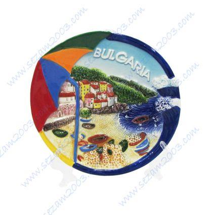 Керамично чиния  с релефни изгледи и надпис България