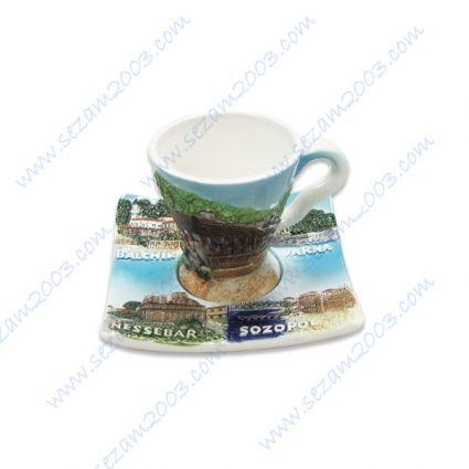 Керамична чаша  кафе с чинийка с релефни изгледи и надпис България