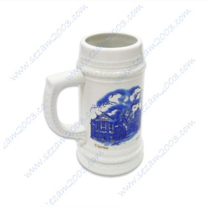 Beer mugs of porcelain with views: Varna, Nessebar, Sofia, Veliko Tarnovo