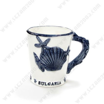 Чаша сувенирна от керамика с релефни морски мотиви
