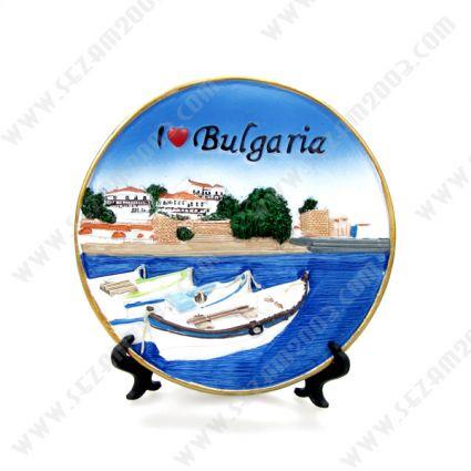 Souvenir plate with relief of polirezin views of Bulgaria