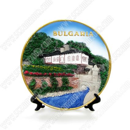 Чиния сувенирна от полирезин с релефни изгледи от България