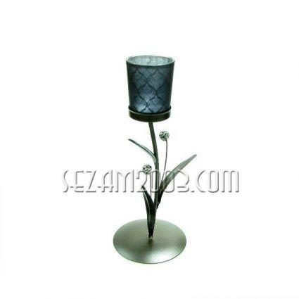 Свещник от метал и стъкло