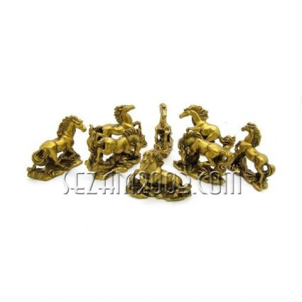 Figures feng shui - horses 8 pieces of resin