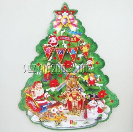 Коледна украса от хартия - релефна с брокат-2бр.к-т