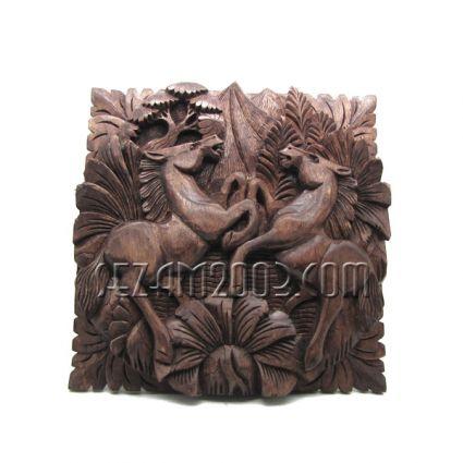 Коне двойка -пано за стена от дърво  ръчна изработка
