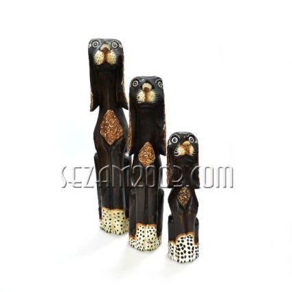 Кучета от дърво 3 бр. комплект декорирани  ръчна изработка