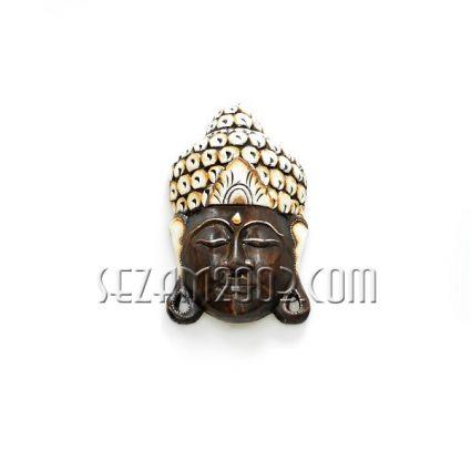 Маска стенна от дърво Буда декорирана  ръчна изработка