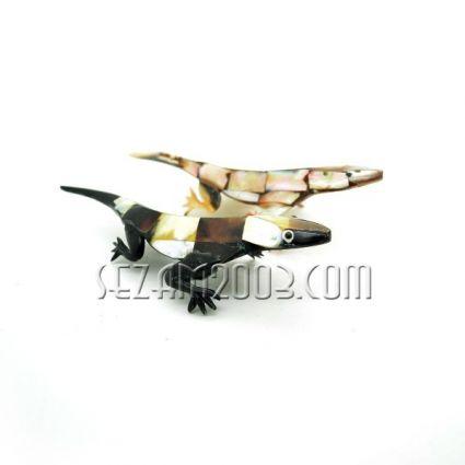 фигурка на гущер от натурален седеф