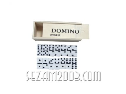 Dominoes in a wooden box