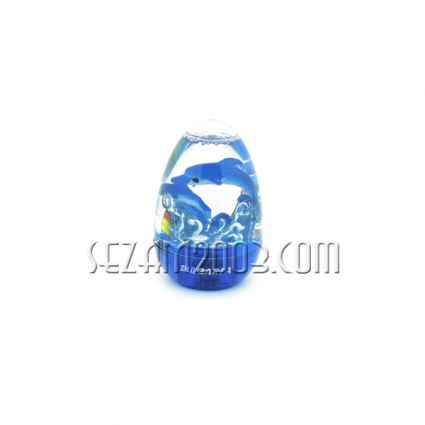 Plastic egg paperweight with sea decor and lights + Bulgaria