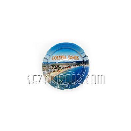 Пепелник от масивно стъкло с изглед от България-Зл.пясъци