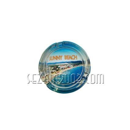 Пепелник от масивно стъкло с изглед от България-Сл.бряг