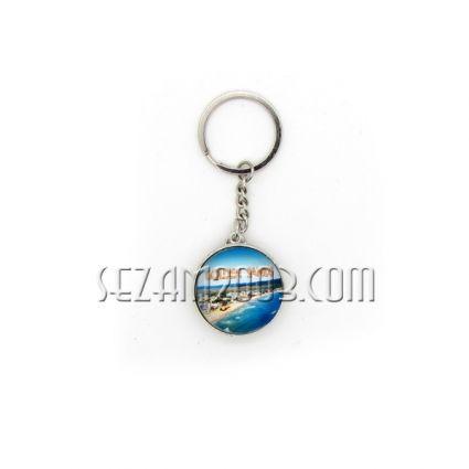 Ключодържател от стъкло и метал с две лица - Зл.пясъци