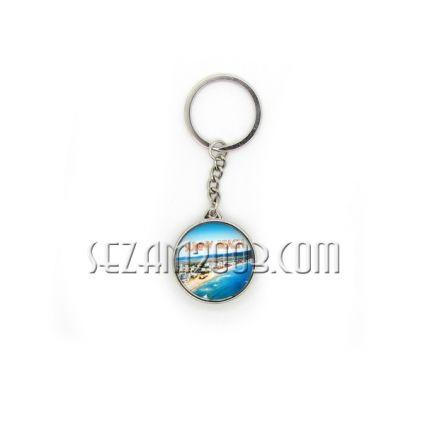 Ключодържател от стъкло и метал с две лица - Сл.бряг