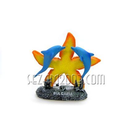 Морска звезда и делфини от полирезин с надпис БЪЛГАРИЯ