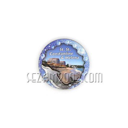 магнит за хладилник с  3Д  изглед от български морски курорт - мдф и хартия