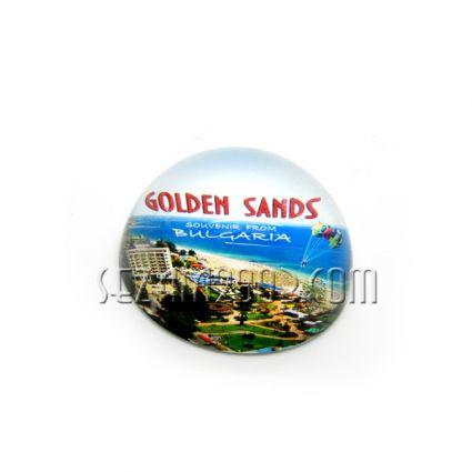 Преспапие от масивно стъкло-лупа - Златни пясъци