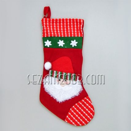 Коледна ЧОРАП с декорации от плат