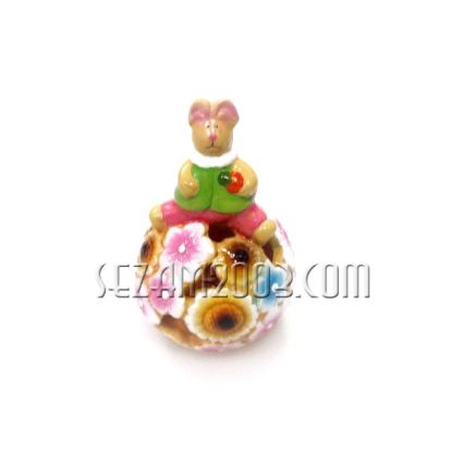 Великденска декорация - заек от керамика светилник с лампички