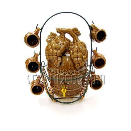 Буре с чашки от керамика на метална стойка с надпис BULGARIA - сувенир