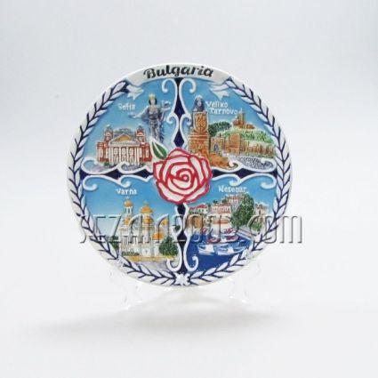 керамична чиния с РОЗА  - с релефни изгледи и надпис БЪЛГАРИЯ