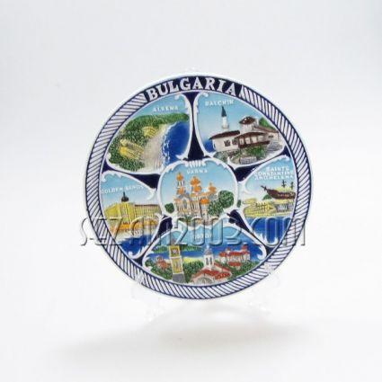 керамична чиния   - с релефни изгледи и надпис от северно черноморие и БЪЛГАРИЯ