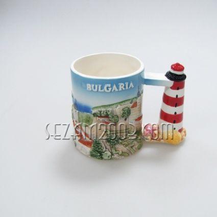 Чаша керамична-ФАР- с релефни изгледи и надпис България