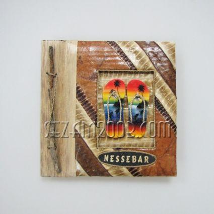 Албум за снимки-10 листа-еко материали с дървени джапанки и надпис НЕСЕБЪР