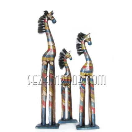 ЗЕБРИ от дърво - 3 броя комплект декорирани