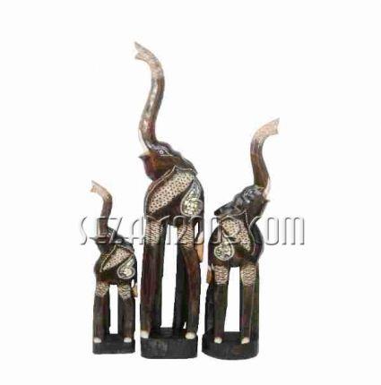 слончета от дърво 3 броя комплект  ръчна изработка