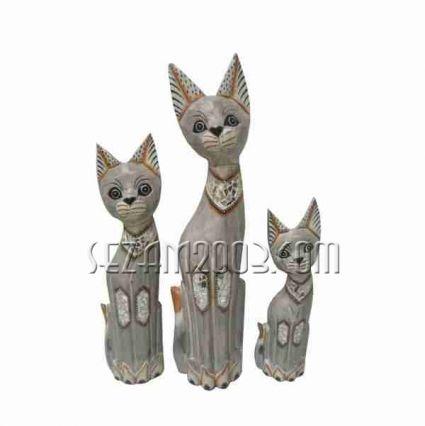 Котки от дърво декорирани 3 броя комплект  ръчна изработка