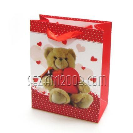 Подаръчна торбичка лукс хартия+брокат с декор
