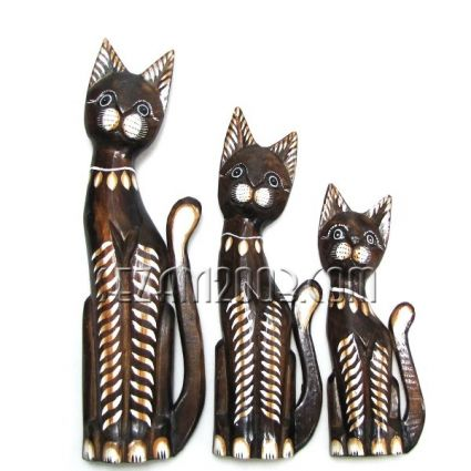 Котки от дърво декорирани 3 броя комплект