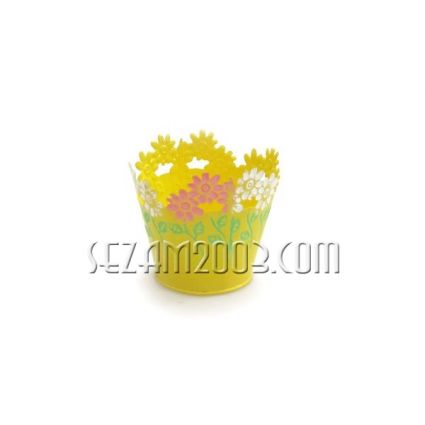 кашпа от метал с  декор цветя