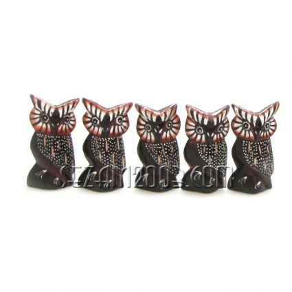 бухалчета от дърво декорирани - 5 бр.к-т