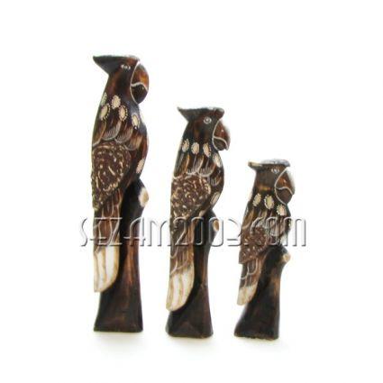 ПАПАГАЛИ фигури от дърво декорирани 3 бр.к-т