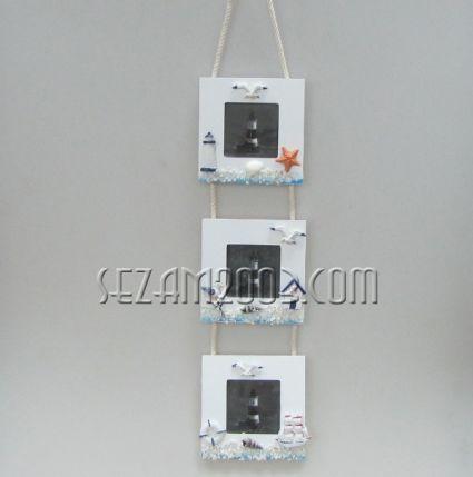 Рамки за снимки стенни от дърво с морски декор - 3ка