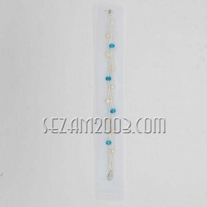 Гривна с 3 реда мъниста + речна перла