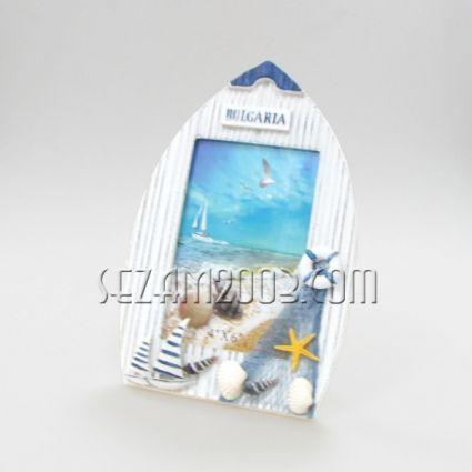 ЛОДКА - рамка за снимки от дърво с морска декорация