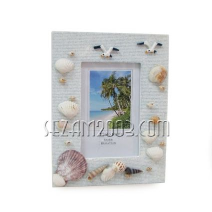 рамка за снимки с мидички и морски декор