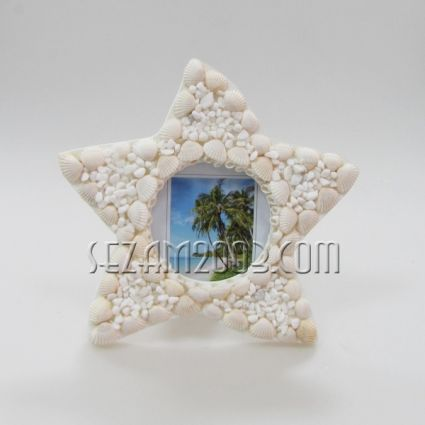 photo frame with seashells